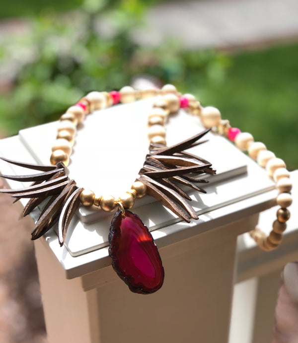 Fuchsia Agate Necklace with Spikes