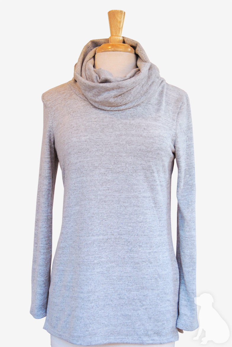 Funnel Neck Tunic in Heather Grey Sweater Knit