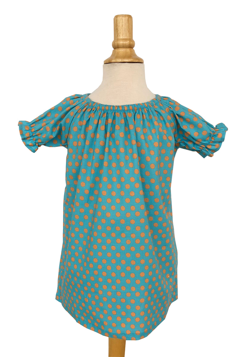 Girls' Allison Dress in Aqua & Coral Dot