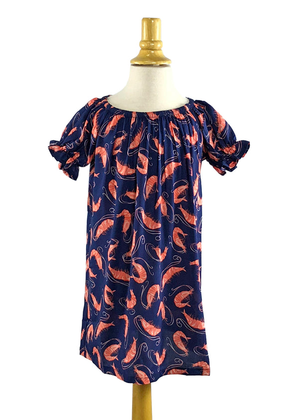Girls' Allison Dress in Navy Shrimp