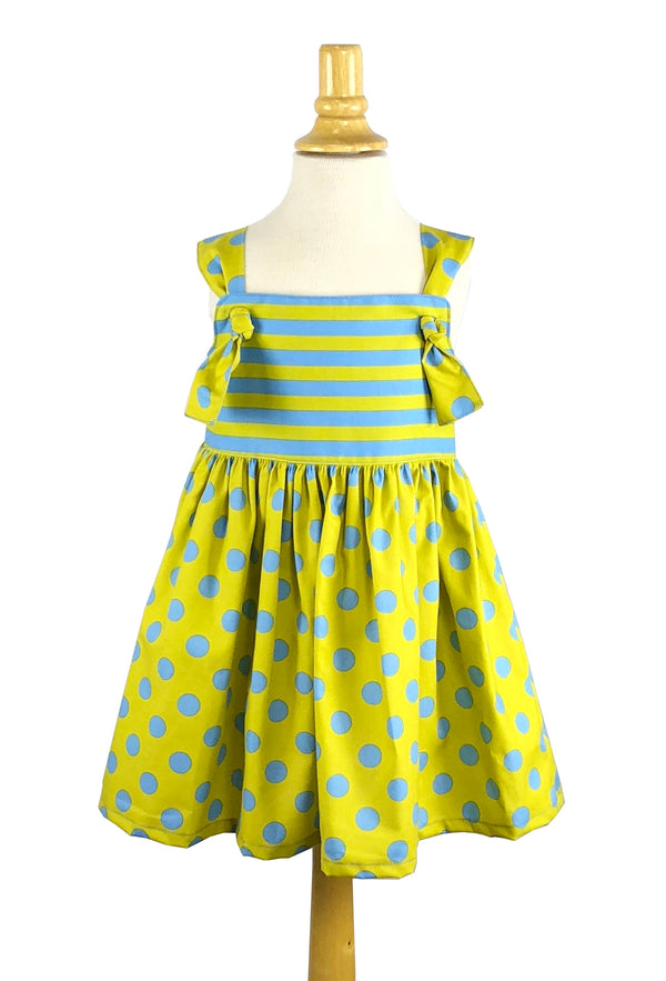 Girls' Natalie Dress in Blue & Lime Polka Dot