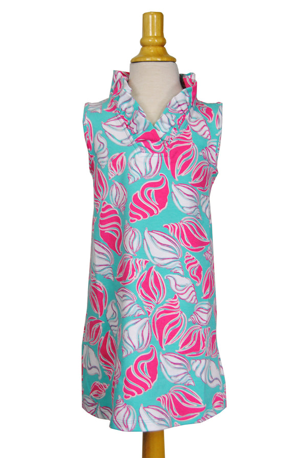 Girls' Parker Dress in Aqua Shells