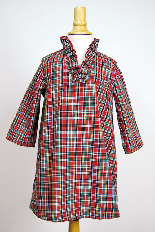 Girls' Parker Dress in Holiday Tartan
