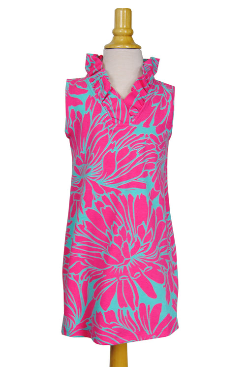 Girls' Parker Dress in Aqua & Fuchsia Floral