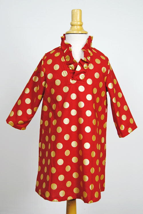 Girls' Parker Dress in Red Metallic Dot