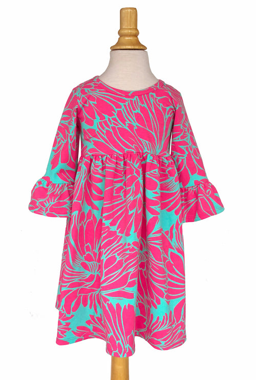 Girls' Emily Dress in Aqua & Fuchsia Floral