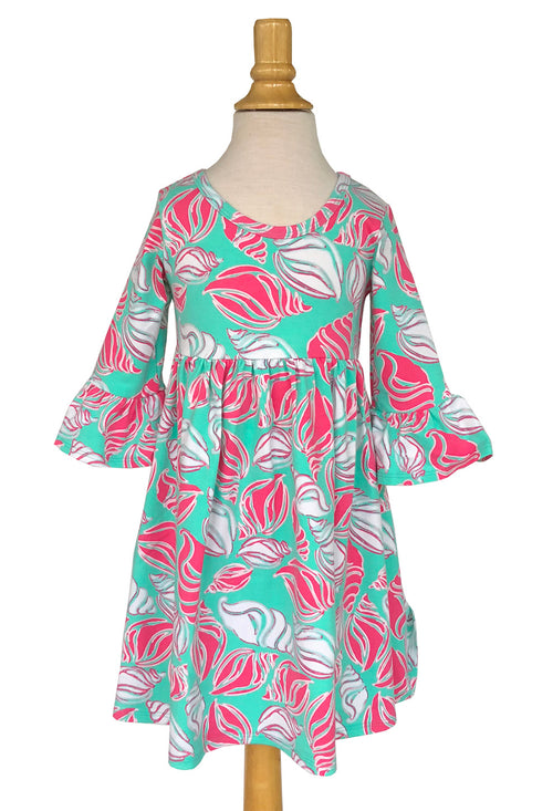 Girls' Emily Dress in Aqua Shells