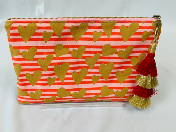 Canvas Tassel Clutch in Hearts