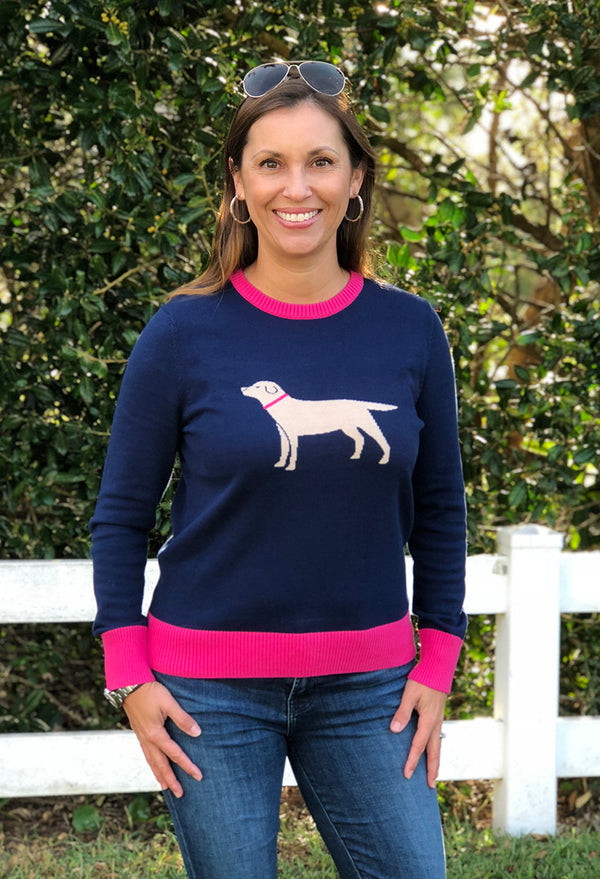 Icon Sweater in Yellow Labrador on Navy