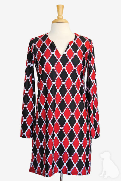 Julia Dress in Black and Red Medallion