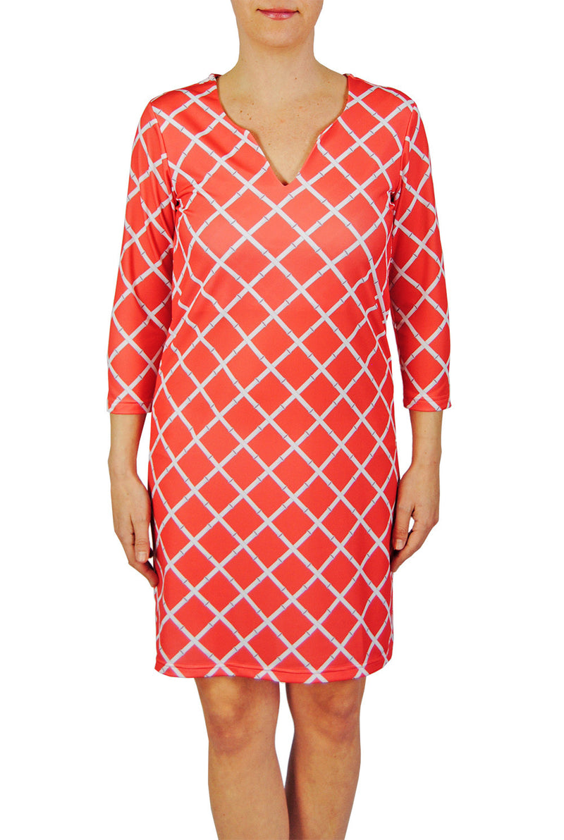 Julia Dress in Coral Lattice