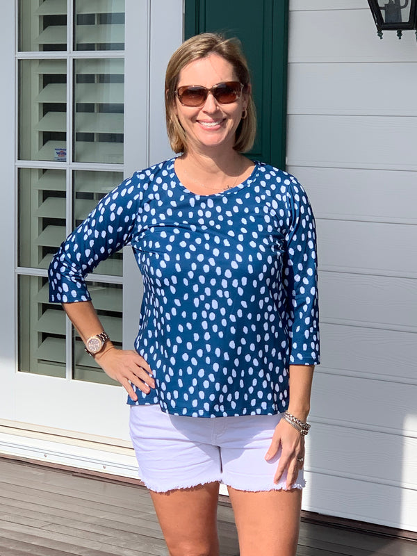 Day at the Park Top in Navy Printemps