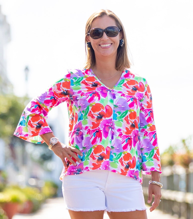 Kristy Top in Watercolor Flowers