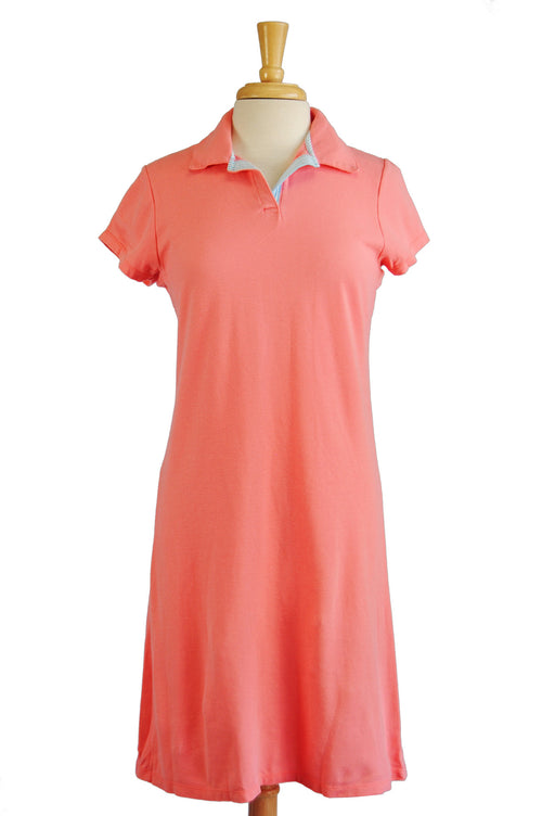 Lauren Dress in Coral Pique