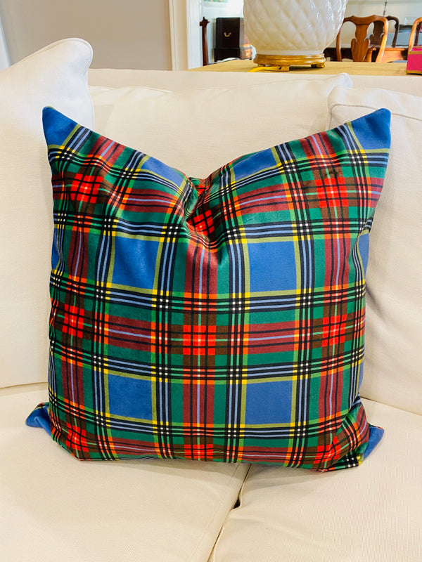 Velvet Pillow Cover-Macbeth Tartan