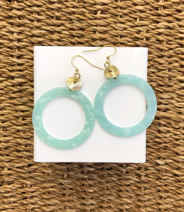Pearlescent Mint Circle-Drop Earring