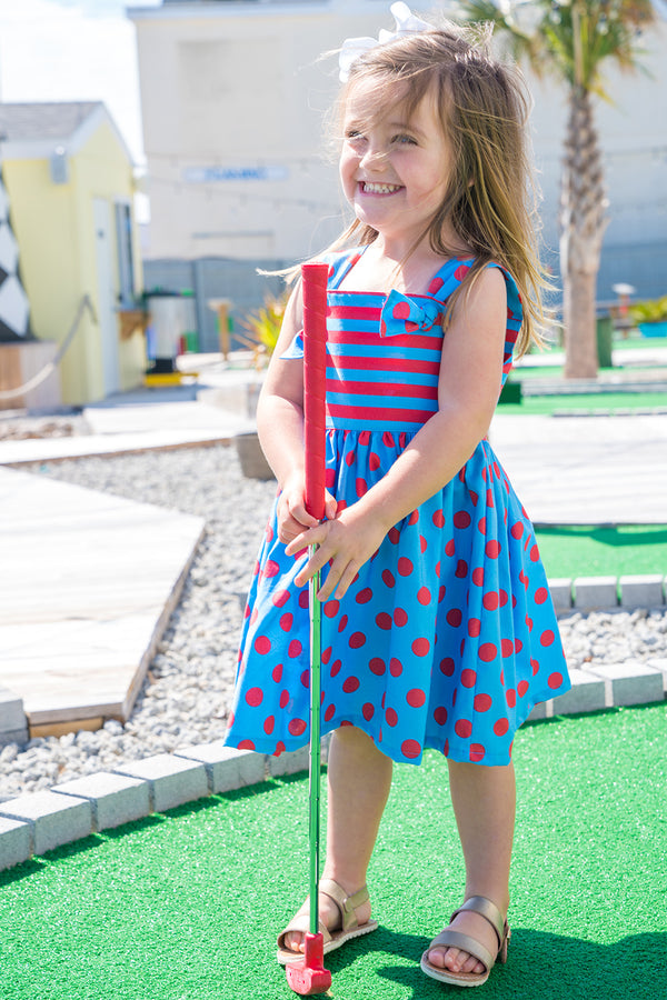 Girls' Natalie Dress in Coral & Blue Polka Dot