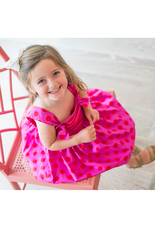 Girls' Natalie Dress in Pink & Red Polka Dot