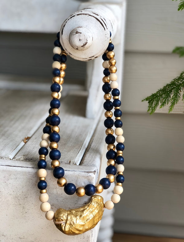 Navy Beaufort Oyster Wrap Necklace