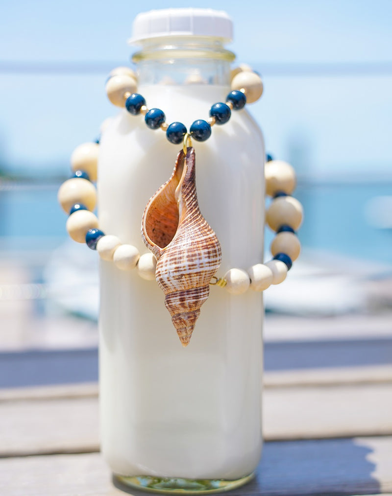 Navy & Wood Necklace with Conch Pendant