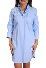 Parker Dress in Blue Broadcloth