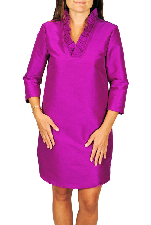 Parker Dress in Fuchsia Dupioni