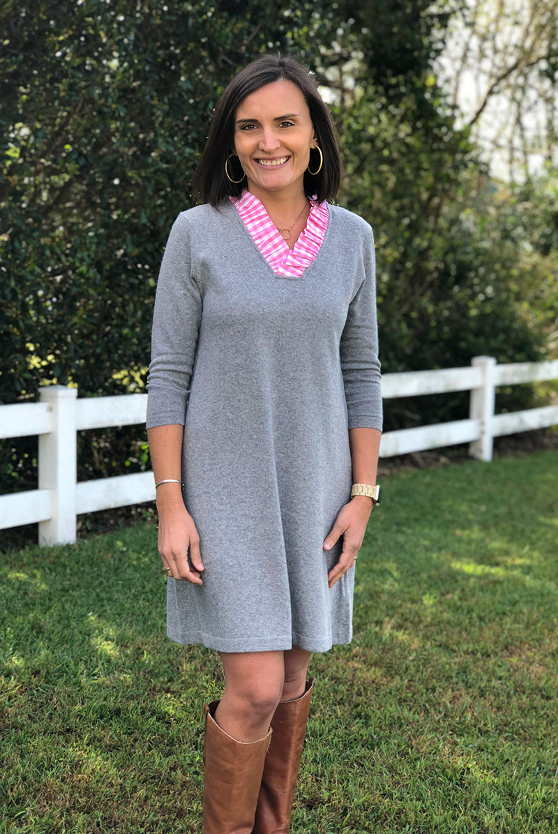 Parker Sweater Dress in Heather Gray with Pink Gingham