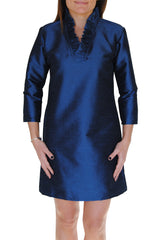 Parker Dress in Midnight Blue Dupioni