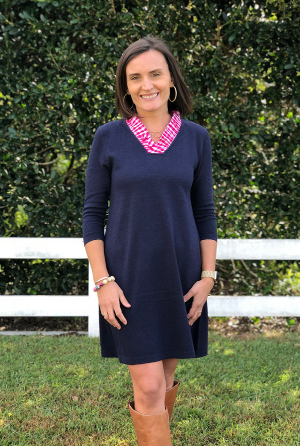 Parker Sweater Dress in Navy with Hot Pink Gingham