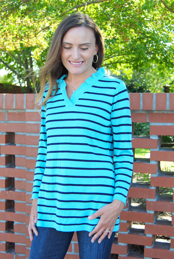 Cashmere Parker Sweater in Aqua/Navy Stripe