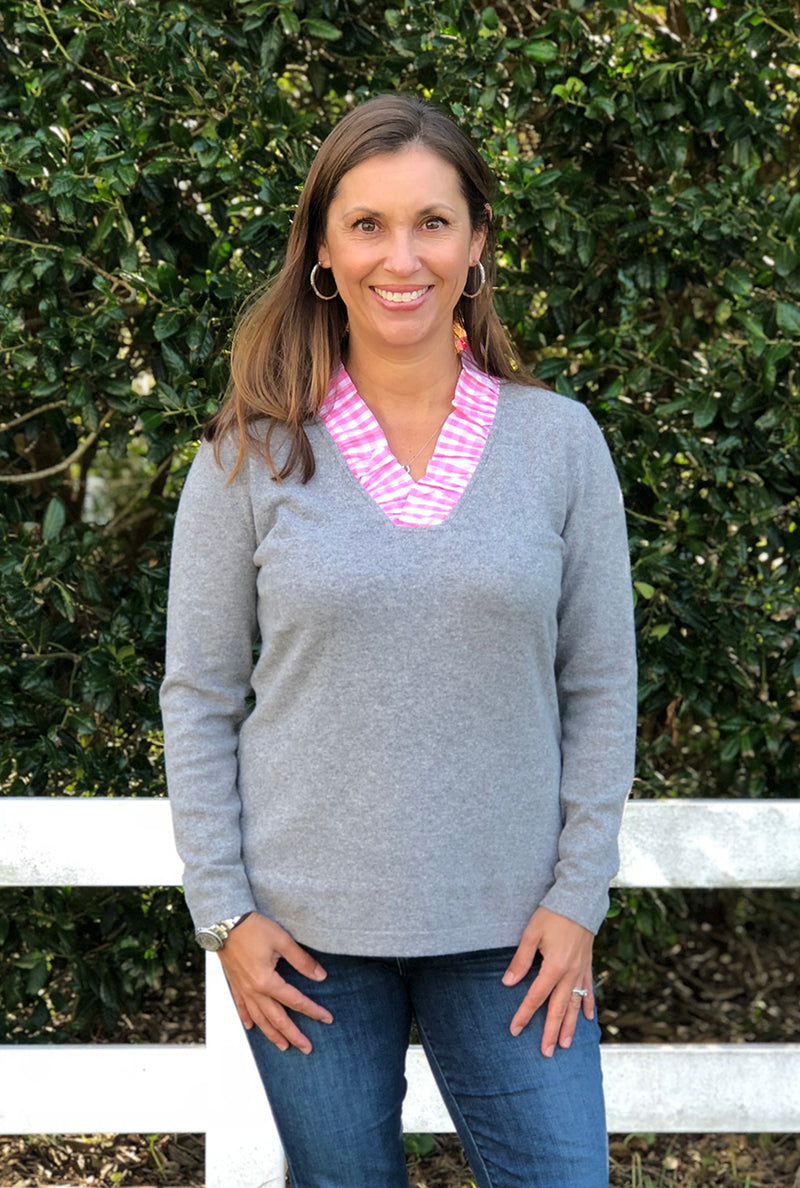 Parker Sweater in Heather Gray with Pink Gingham