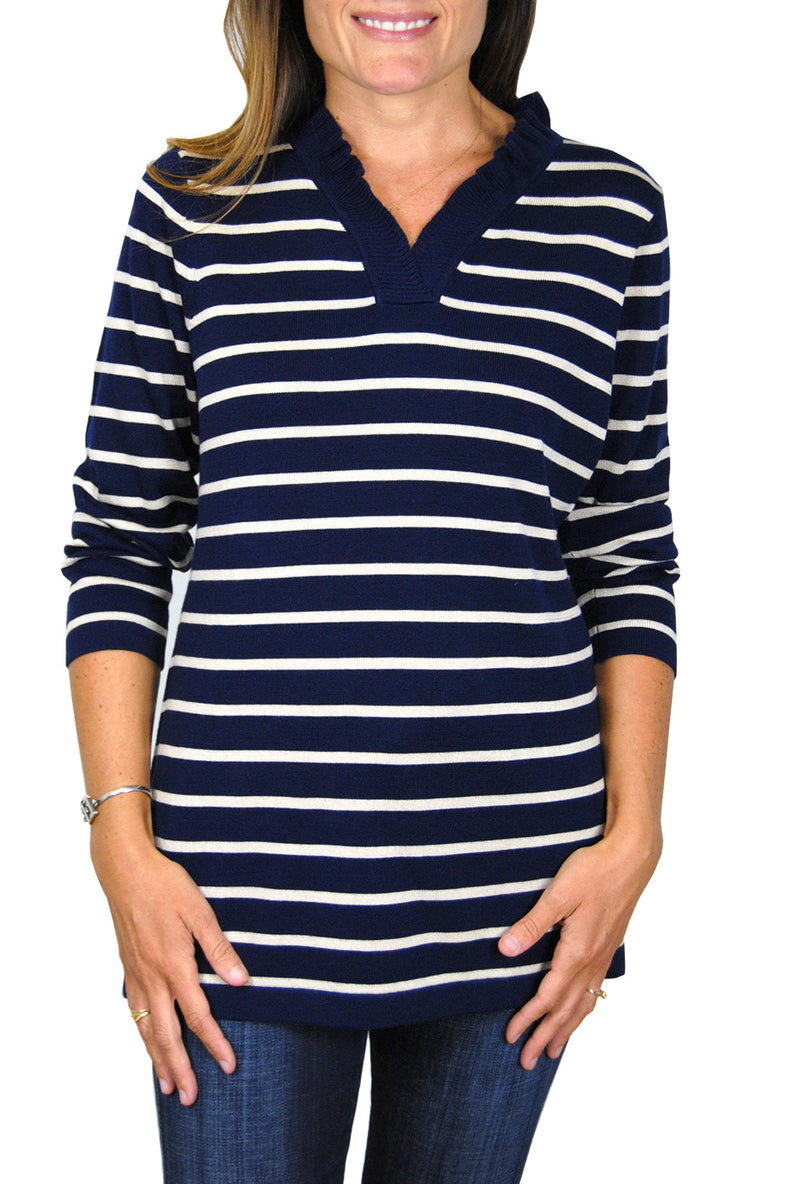 Cashmere Parker Sweater in Navy/Sandstone Stripe