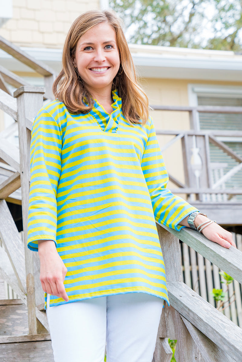 Parker Tunic in Blue & Lime Stripe