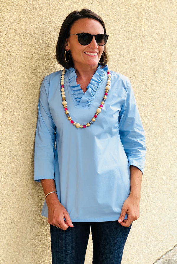 Parker Tunic in Blue Broadcloth