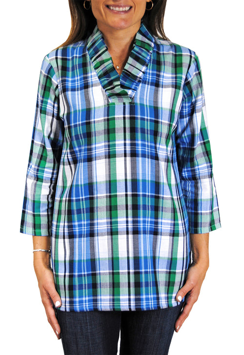 Parker Tunic in Blue and Green Plaid