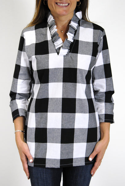Parker Tunic in Black & White Buffalo Check