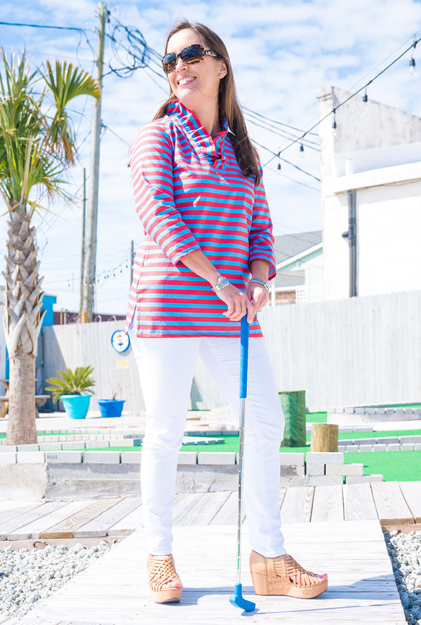 Parker Tunic in Coral & Blue Stripe