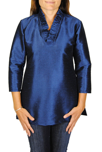 Parker Tunic in Midnight Navy Dupioni