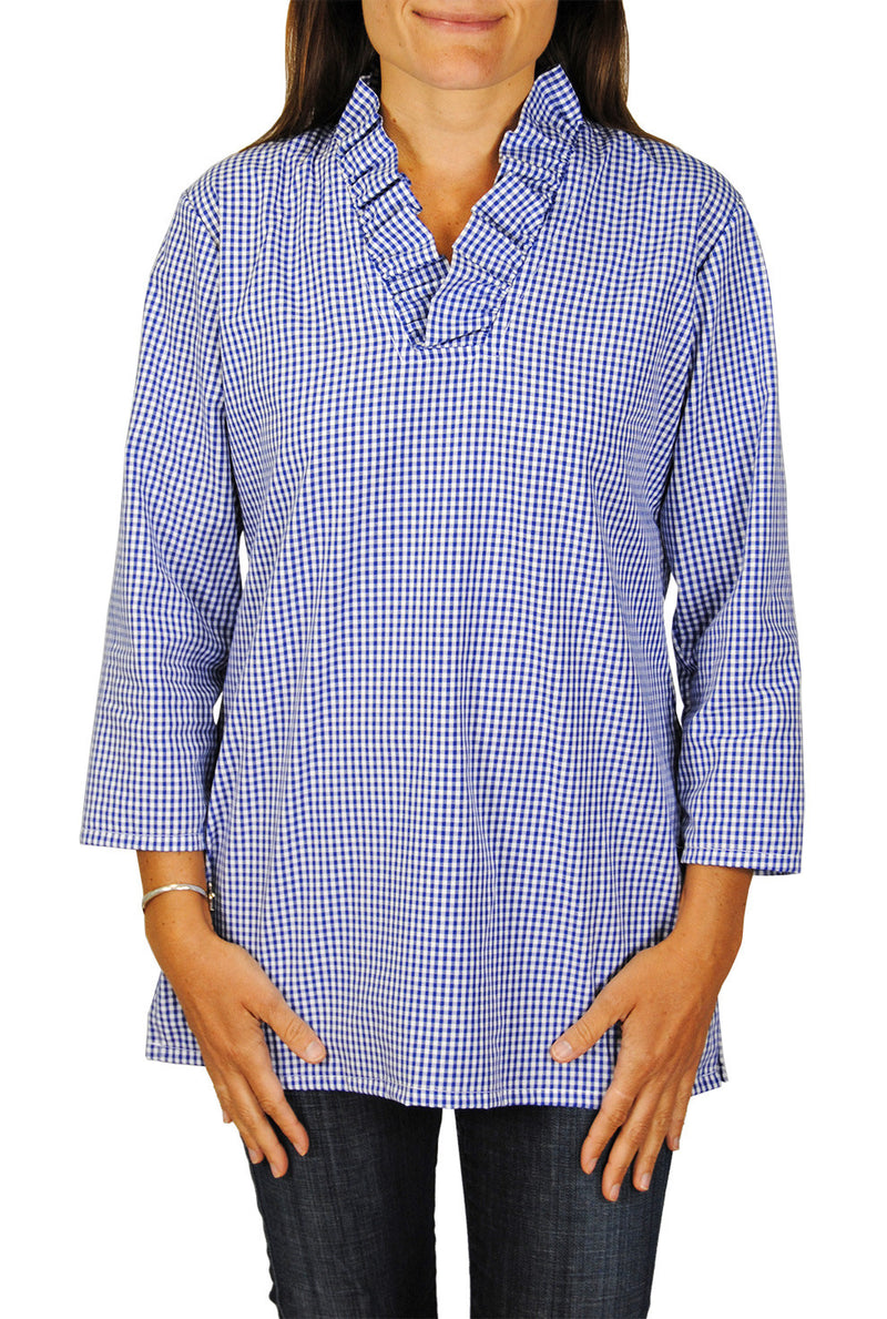 Parker Tunic in Mini Royal Blue Gingham