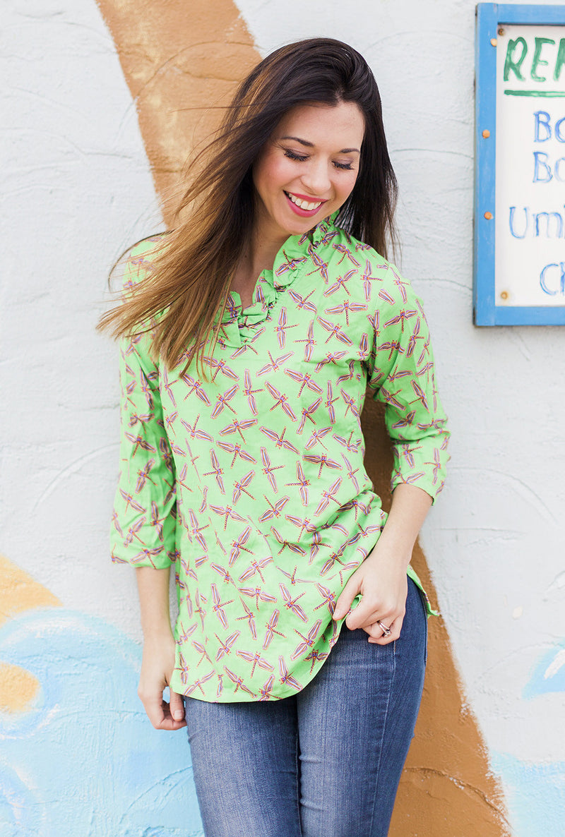 Parker Tunic in Lime Dragonflies