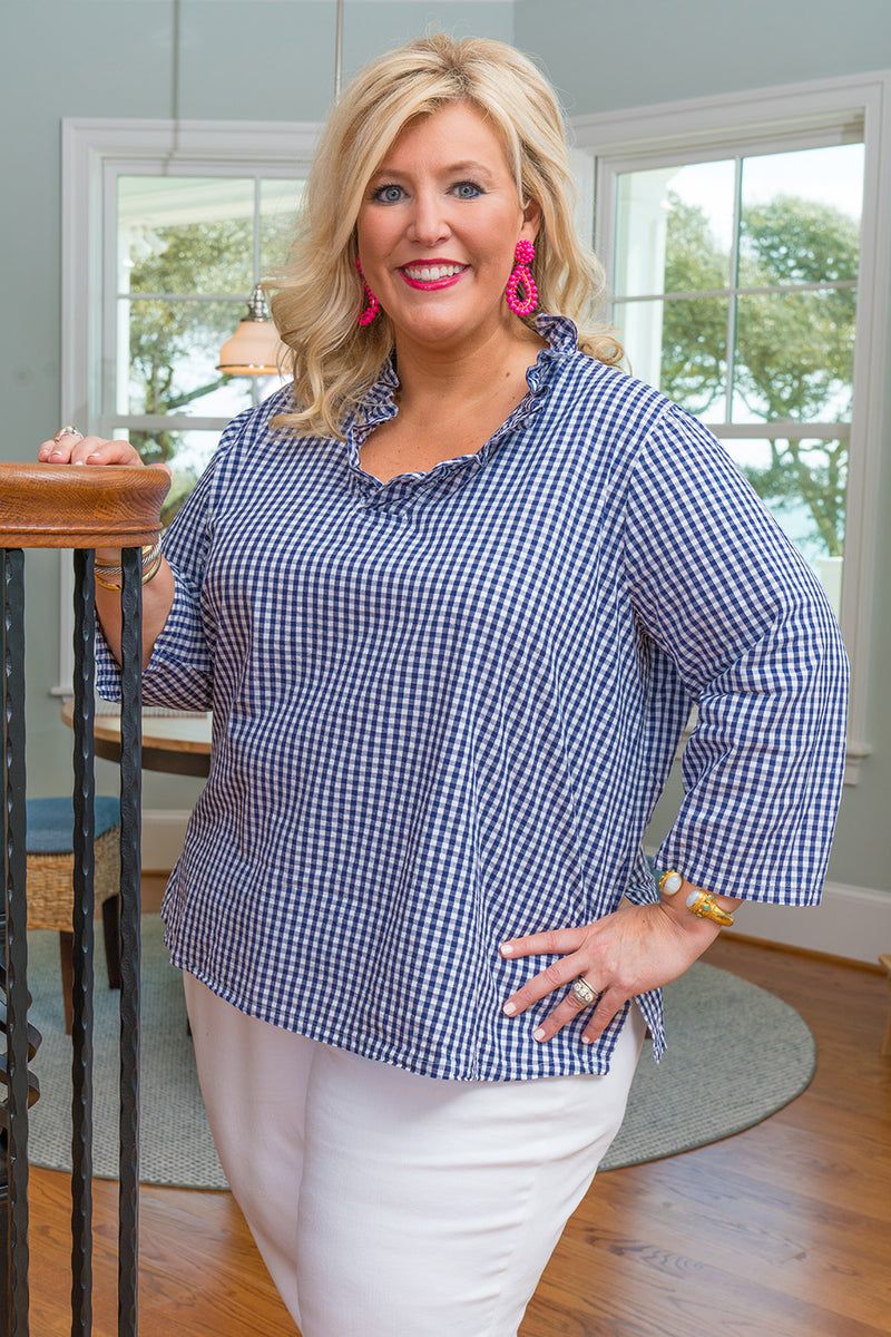 Parker Tunic-Plus Size in Navy Gingham
