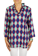 Parker Tunic in Mint & Navy Medallion