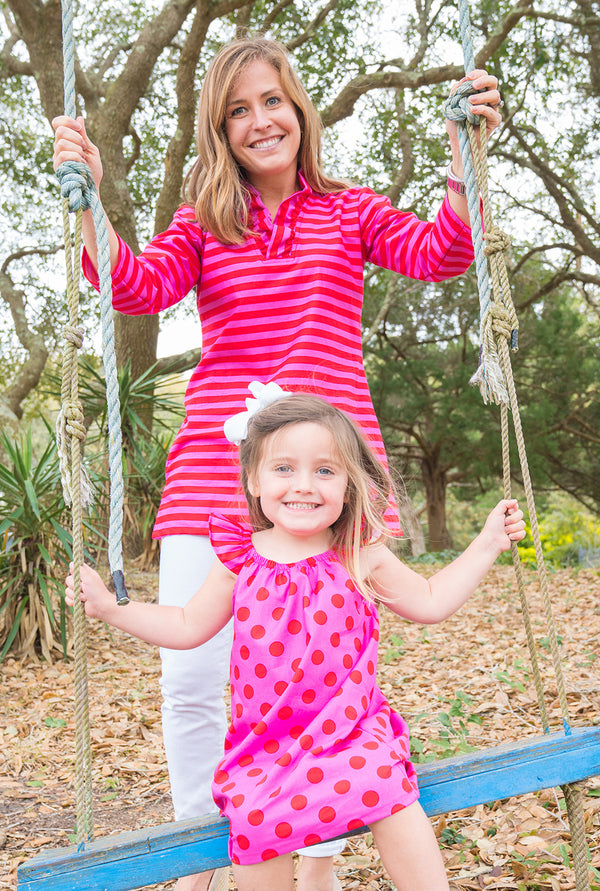 Parker Tunic in Pink & Red Stripe