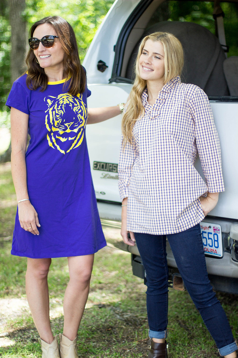 Parker Tunic in Purple and Gold Check
