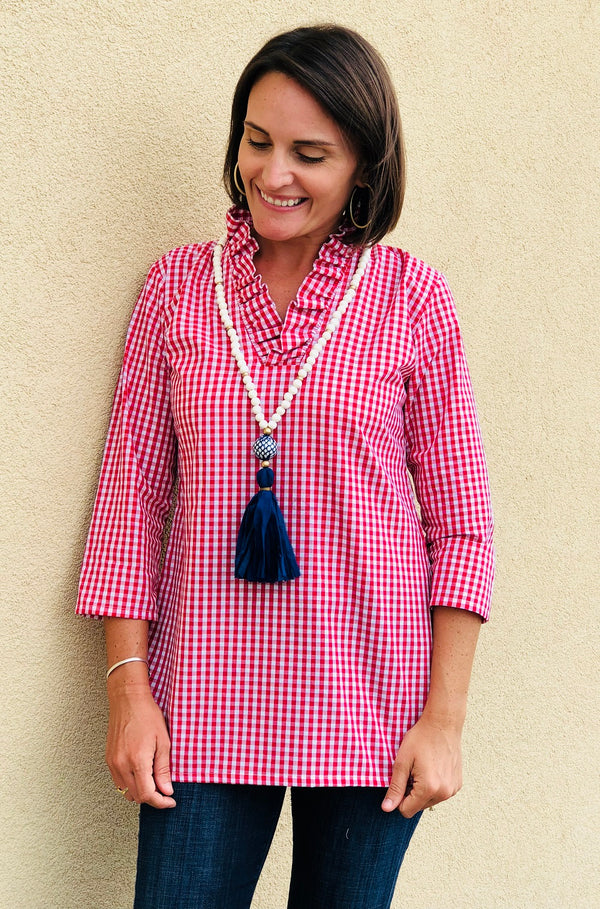 Parker Tunic in Quarter Inch Red Gingham
