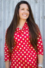 Parker Tunic in Red Metallic Dot