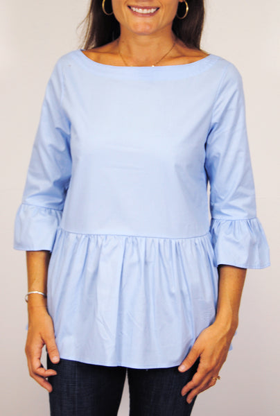 Peplum Top in Blue Broadcloth