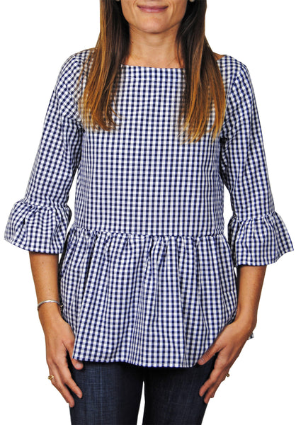 Peplum Top in Navy Gingham