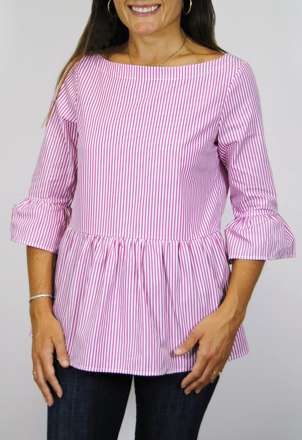 Peplum Top in Pink Stripe