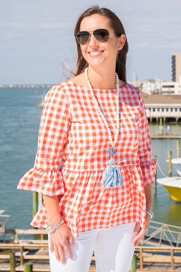 Peplum Top in Orange Check
